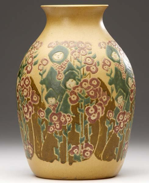 19: OVERBECK Exceptional vase incised with stylized fig