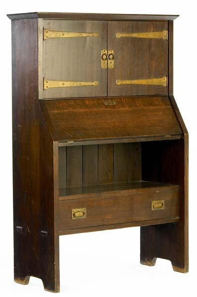 93: GUSTAV STICKLEY Exceedingly rare drop-front desk an