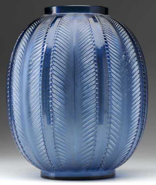 472 Rene Lalique Biskra Vase Of Navy Blue Glass C