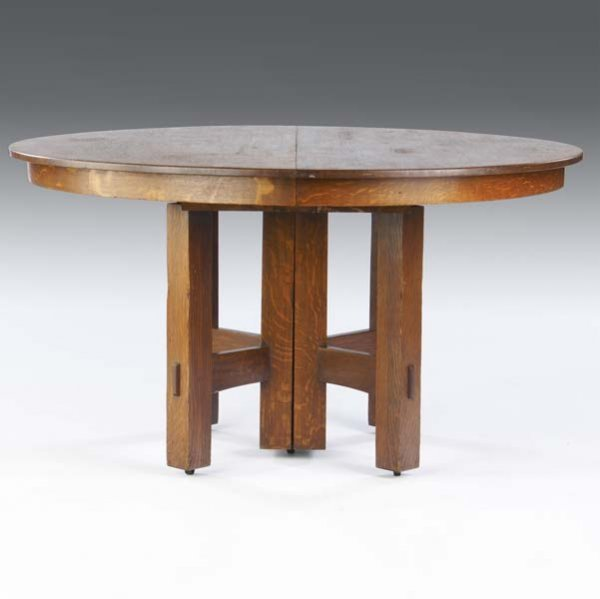 502: STICKLEY BROTHERS Five-leg dining table with circu