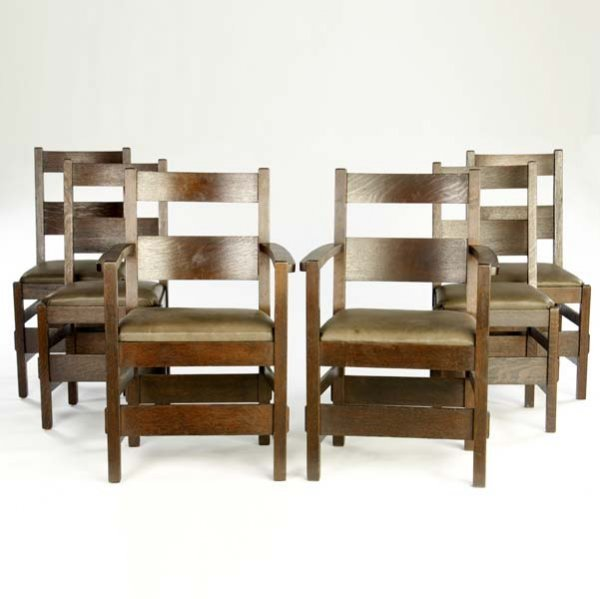 503: STICKLEY BROTHERS Six dining chairs, two arm- and