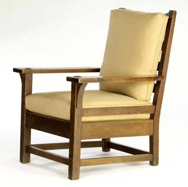 504: GUSTAV STICKLEY Early fixed-back armchair (no. 259