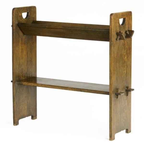 507: GUSTAV STICKLEY Book rack (no. 74) with V-trough.