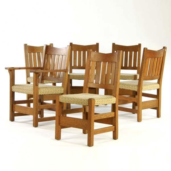 509: GUSTAV STICKLEY Set of six V-back chairs (no. 354