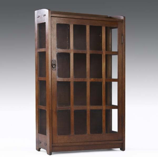 511: GUSTAV STICKLEY Single-door china cabinet with gal