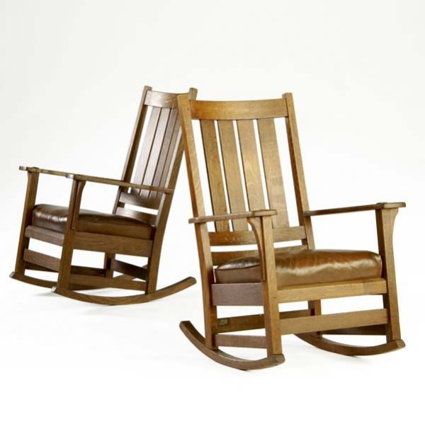 513: L. AND J.G. STICKLEY Pair of high-back rockers (no