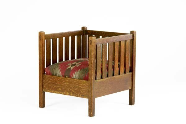 517E: GUSTAV STICKLEY Slatted cube chair with drop-in s