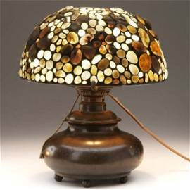 610: TIFFANY STUDIOS Etc. Bronze table lamp with electr