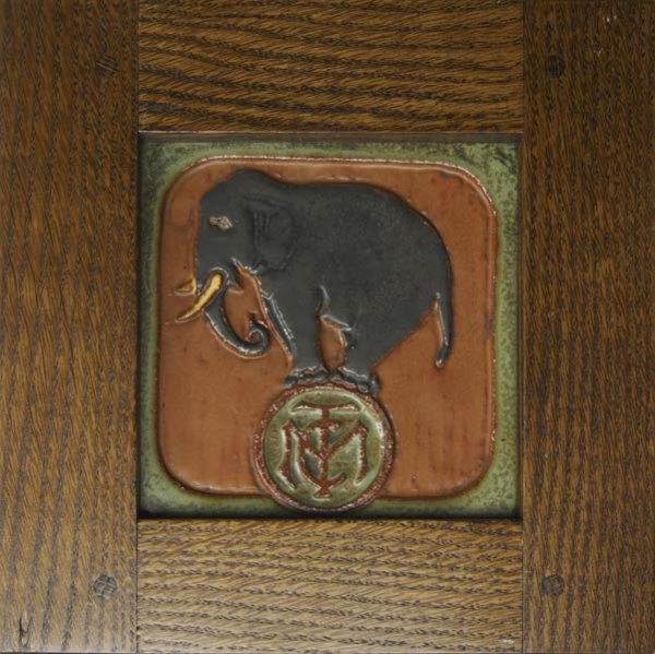 869: MOSAIC TILE CO. Rare advertising tile with elephan
