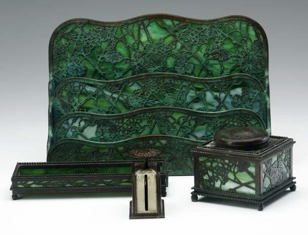2: TIFFANY STUDIOS Four desk set items in the Grapevine