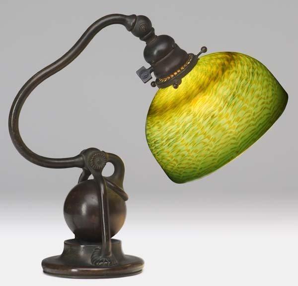 5: TIFFANY STUDIOS Bronze counter-balance desk lamp wit