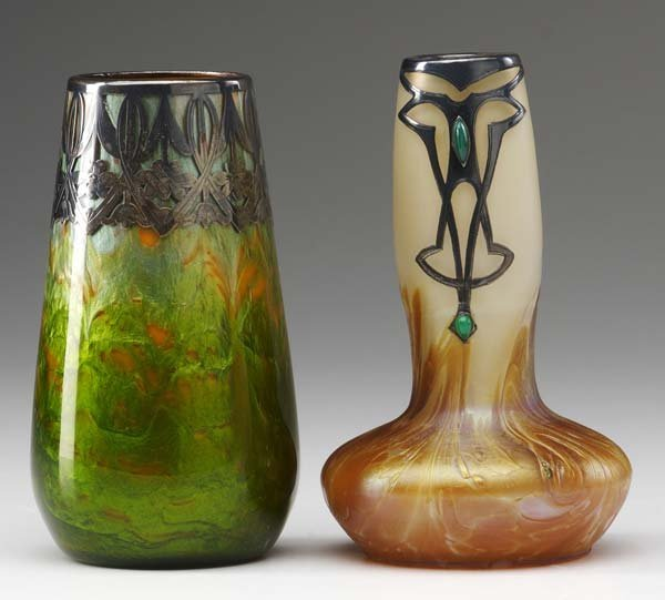 9: LOETZ  Two bud vases, the first in gold and yellow