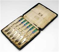 11 LIBERTY  CO Set of six enameled silver forks
