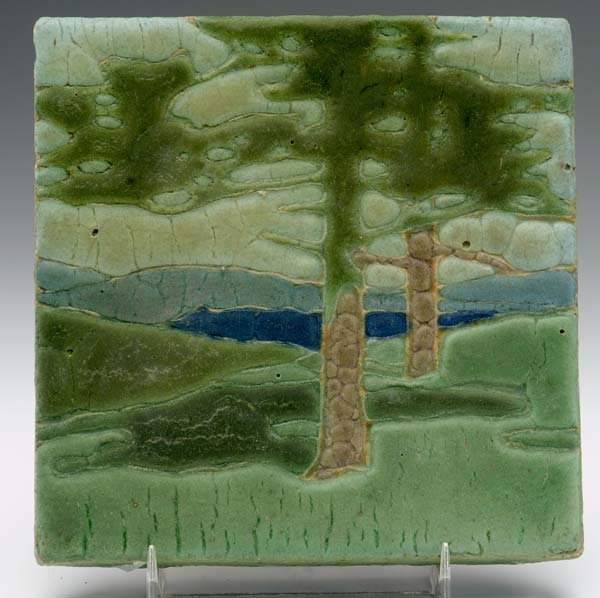 "20: GRUEBY Tile, ""The Pines,"" decorated in cuenca"