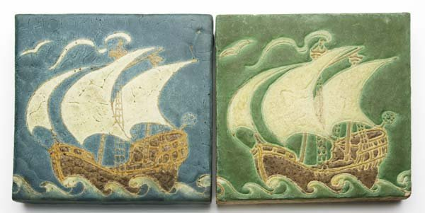 21: GRUEBY Two tiles each decorated in cuenca with ship
