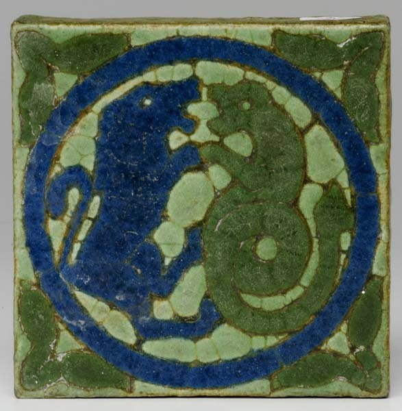 22: GRUEBY Tile decorated with dragon and lion