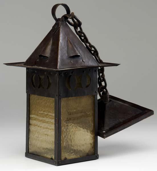 79: GUSTAV STICKLEY Rare hammered copper lantern