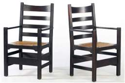 278 GUSTAV STICKLEY Pair of early ladderback armchairs