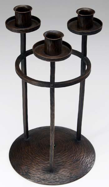 500: ROYCROFT Hammered copper candelabra with three ste