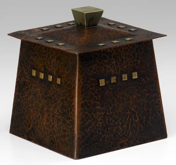 503: ROYCROFT Exceptional hammered copper humidor desig
