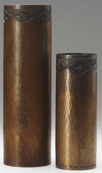 506: ROYCROFT Two hammered copper cylindrical vases