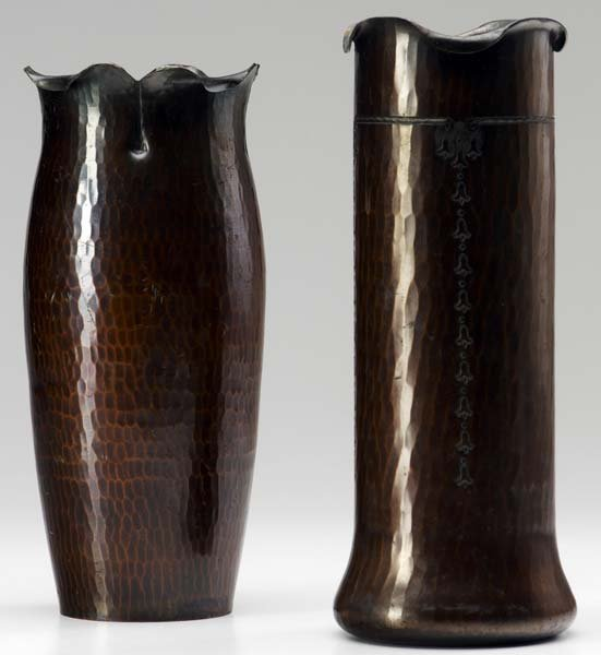507: ROYCROFT Two hammered copper vases