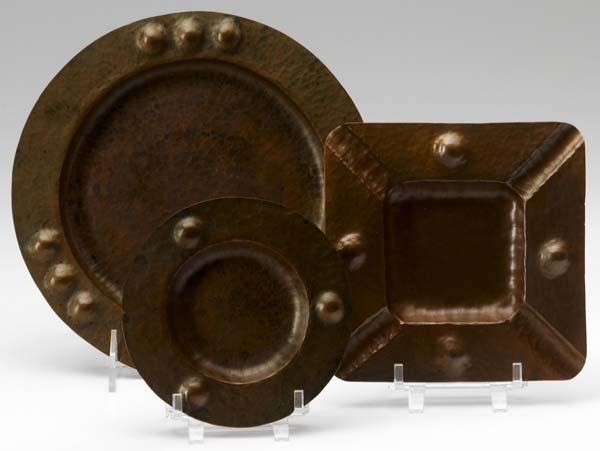 510: ROYCROFT Three early hammered copper serving trays