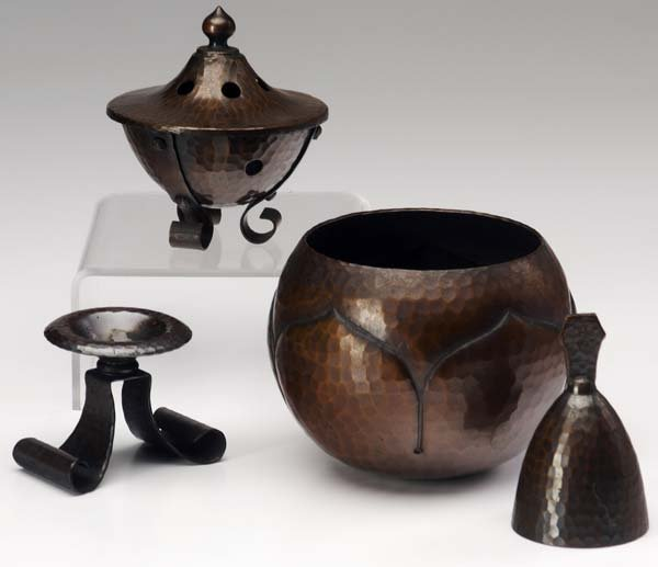 514: ROYCROFT Four hammered copper items