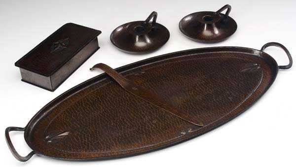 517: ROYCROFT Five hammered copper items