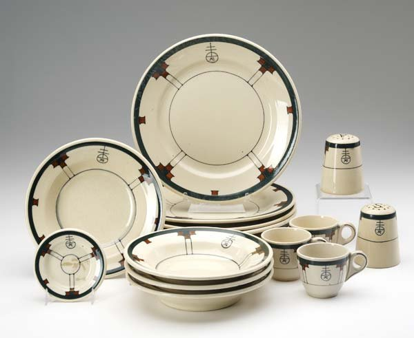 521: ROYCROFT Fifteen china dishes by Buffalo China