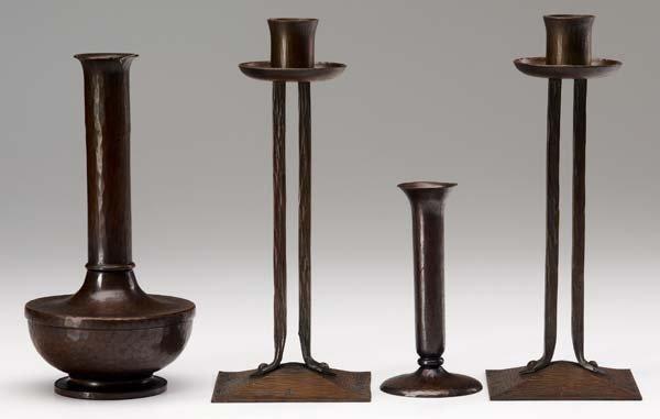 524: ROYCROFT Four hammered copper pieces