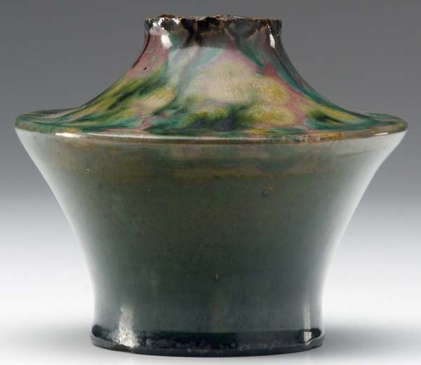 751: GEORGE OHR Fine squat vase with torn rim, the shou