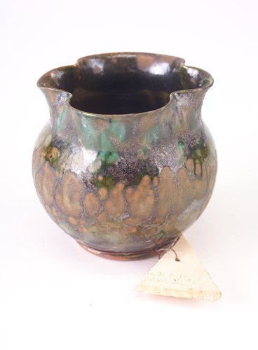 10: GEORGE OHR Bulbous vase with lobed rim covered in t