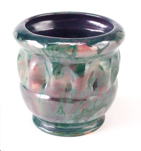 12: GEORGE OHR Bulbous vase with closed-in rim over a d