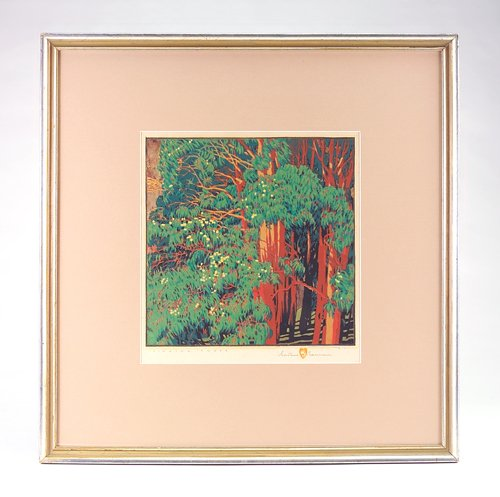 "23: GUSTAVE BAUMANN Color woodblock print, ""Singing Tre"
