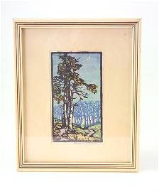 123: FRANCES GEARHART Color woodblock print of two tall