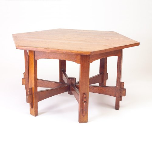 501: L. AND J.G. STICKLEY Hexagonal game table (no. 563