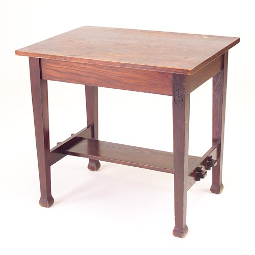 511: ROYCROFT Chestnut library table with overhanging t