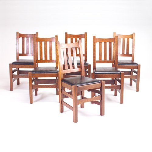 514: STICKLEY BROTHERS Six dining chairs (no. 479 1/2),