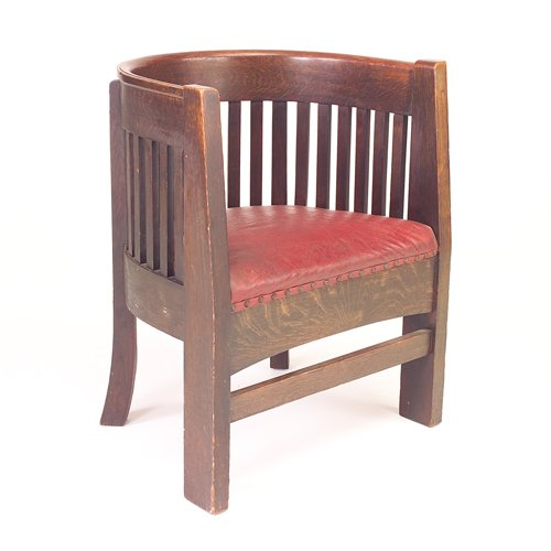 517: PLAIL BROS Barrel-back armchair with slats to seat