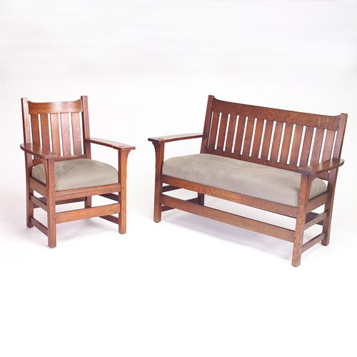 521: L. & J.G. STICKLEY Settee and armchair with vertic