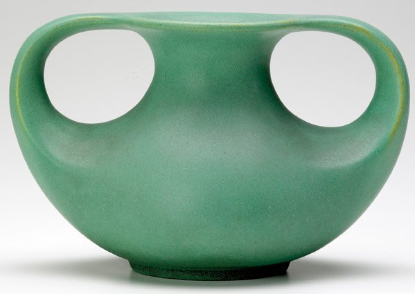 516: TECO Squat ovoid vase with two looping handles