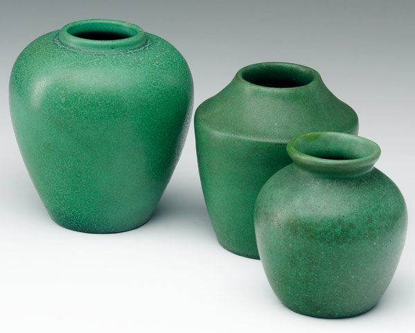 517: TECO Three vases covered in matte green glaze