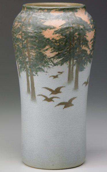 518:ROOKWOOD Scenic Vellum vase  painted by E.T. Hurley