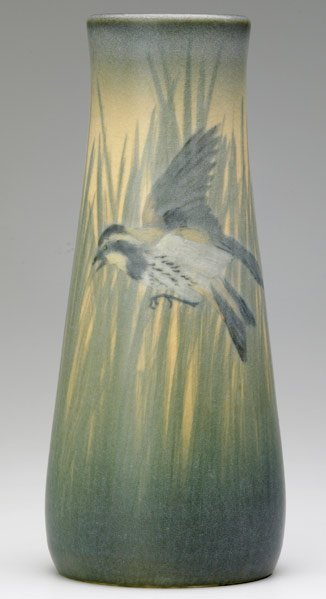 519: ROOKWOOD Vellum tapered vase  by E. T. Hurley