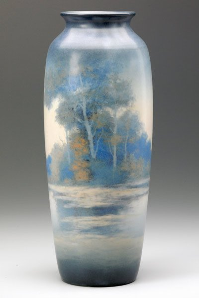 521: ROOKWOOD Tall Scenic Vellum vase by E.T. Hurley