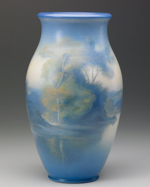 522: ROOKWOOD Scenic Vellum vase by Fred Rothenbusch