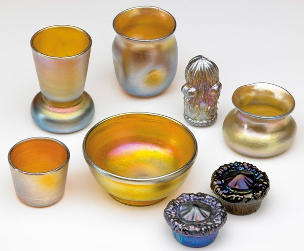 957: TIFFANY STUDIOS Eight  Favrile glass pieces