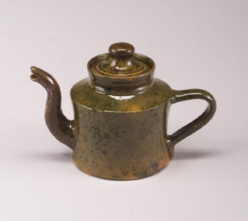 6: GEORGE OHR small teapot covered in green s