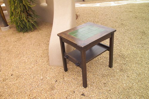 2: GUSTAV STICKLEY Rare side table with a rectangular t